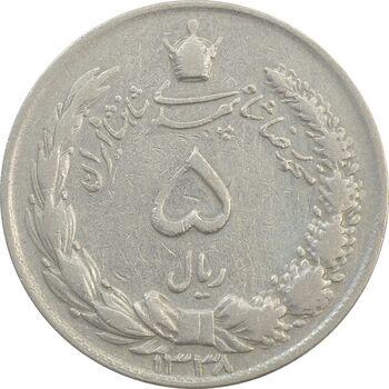 سکه 5 ریال 1338 ضخیم (تاریخ مکرر) - VF25 - محمد رضا شاه