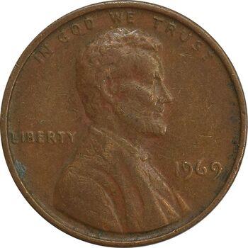 سکه 1 سنت 1969 لینکلن - EF - آمریکا