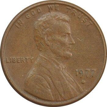 سکه 1 سنت 1977D لینکلن - EF - آمریکا