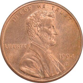 سکه 1 سنت 1994D لینکلن - MS62 - آمریکا