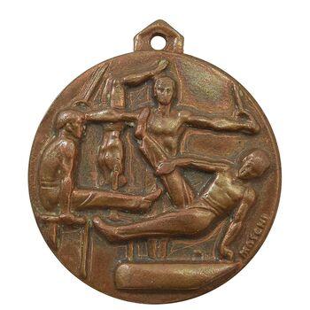 مدال آویز ورزشی برنز ژیمناستیک آقایان - EF - محمد رضا شاه