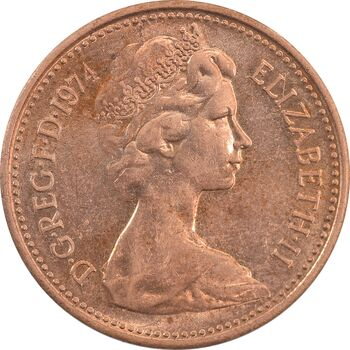 سکه 1 پنی 1974 الیزابت دوم - MS63 - انگلستان
