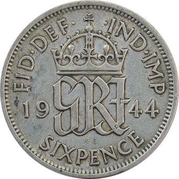 سکه 6 پنس 1944 جرج ششم - EF45 - انگلستان