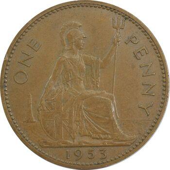 سکه 1 پنی 1953 الیزابت دوم - EF40 - انگلستان
