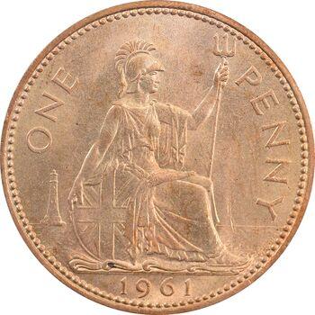 سکه 1 پنی 1961 الیزابت دوم - MS63 - انگلستان