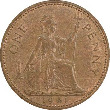 سکه 1 پنی 1961 الیزابت دوم - AU55 - انگلستان