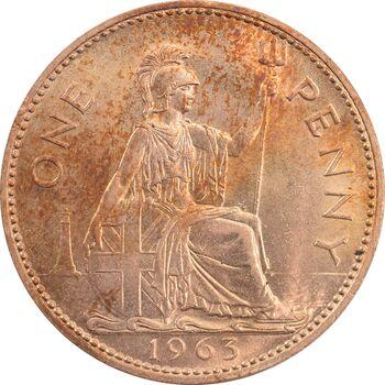 سکه 1 پنی 1963 الیزابت دوم - MS64 - انگلستان