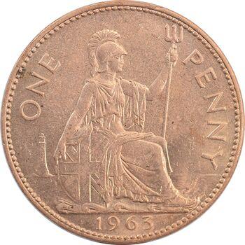 سکه 1 پنی 1963 الیزابت دوم - MS62 - انگلستان