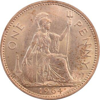 سکه 1 پنی 1964 الیزابت دوم - MS63 - انگلستان