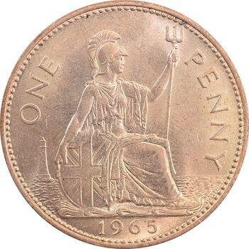 سکه 1 پنی 1965 الیزابت دوم - MS64 - انگلستان