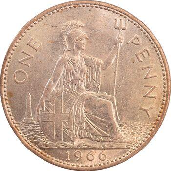 سکه 1 پنی 1966 الیزابت دوم - MS63 - انگلستان