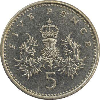 سکه 5 پنس 1990 الیزابت دوم - MS62 - انگلستان