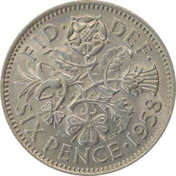 سکه 6 پنس 1958 الیزابت دوم - MS62 - انگلستان