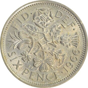 سکه 6 پنس 1966 الیزابت دوم - AU55 - انگلستان