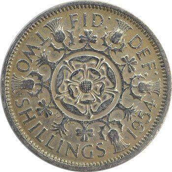 سکه 2 شیلینگ 1954 الیزابت دوم - EF40 - انگلستان