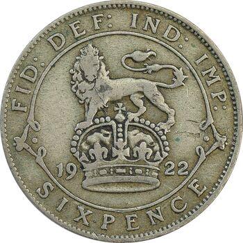 سکه 6 پنس 1922 جرج پنجم - EF40 - انگلستان