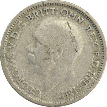 سکه 6 پنس 1929 جرج پنجم - VF30 - انگلستان