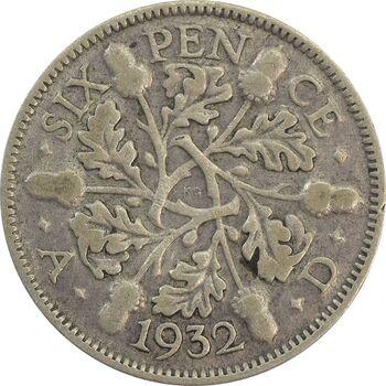 سکه 6 پنس 1932 جرج پنجم - EF45 - انگلستان