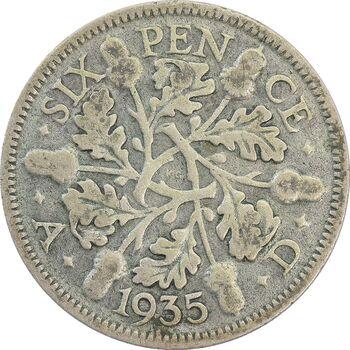 سکه 6 پنس 1935 جرج پنجم - VF30 - انگلستان
