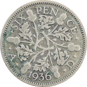 سکه 6 پنس 1936 جرج پنجم - VF30 - انگلستان