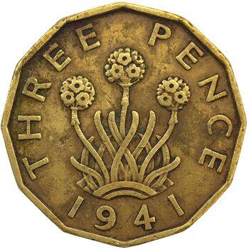 سکه 3 پنس 1941 جرج ششم - EF40 - انگلستان