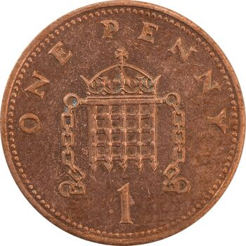 سکه 1 پنی 1989 الیزابت دوم - AU55 - انگلستان