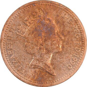 سکه 1 پنی 1990 الیزابت دوم - AU58 - انگلستان