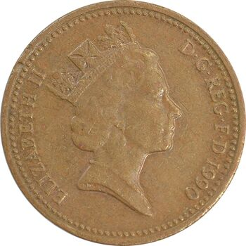 سکه 1 پنی 1990 الیزابت دوم - EF45 - انگلستان