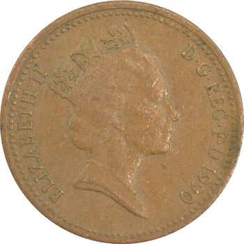 سکه 1 پنی 1990 الیزابت دوم - EF40 - انگلستان
