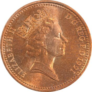 سکه 1 پنی 1991 الیزابت دوم - MS63 - انگلستان