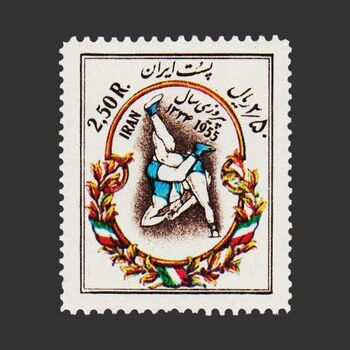 تمبر پیروزی کشتی گیران در مسابقات بین المللی 1334 - محمدرضا شاه