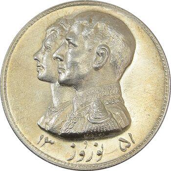 مدال نقره نوروز 1351 چوگان - MS64 - محمد رضا شاه