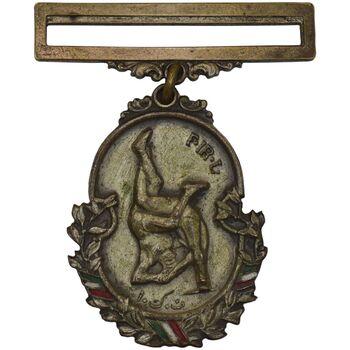 نشان آویزی اهدایی فدراسیون کشتی - نقره ای - EF - محمد رضا شاه