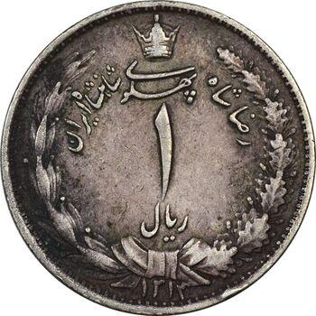 سکه 1 ریال 1313 (3 تاریخ کج) - EF40 - رضا شاه