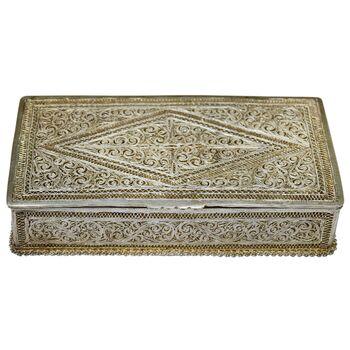 جعبه نقره ملیله کاری طرح اسلیمی