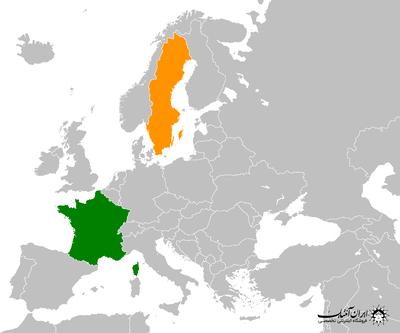 France Sweden Globe Map